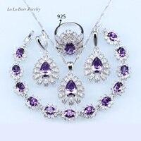 L B Purple Created Australia Crystal White Zircon Silver Color Jewelry Set For Women 925 Logo