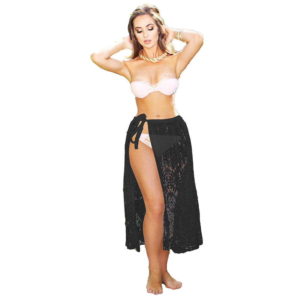34797b5f00 2018 Women Beach Sarong Sheer Crochet Lace Chiffon Tie Split Hollow Out  Sexy Ladies Cover Up Sexy Summer Style Skirt Black/White-in Skirts from  Women's ...