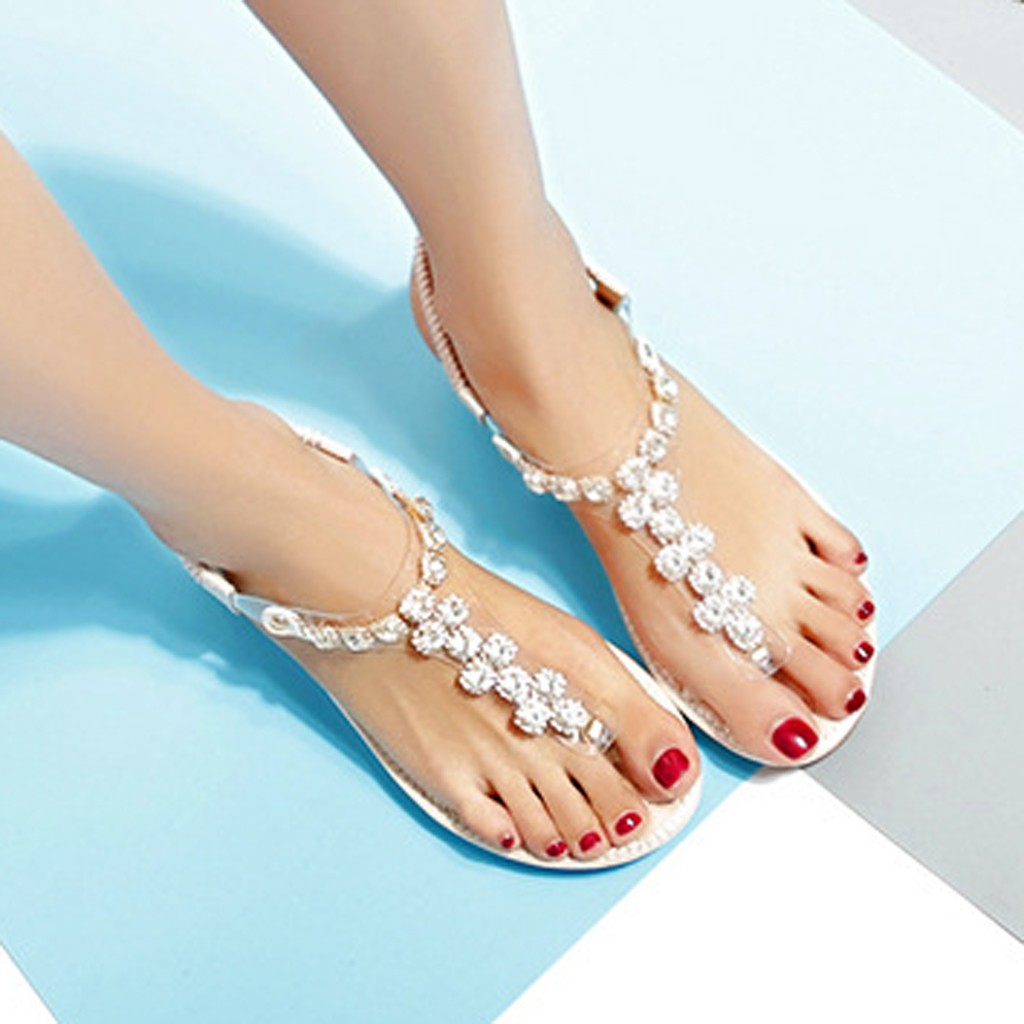 genuine leather sandals women gladiator sandals White women sandals 2019 summer sandals women shoes flat escarpin #3