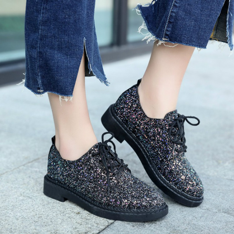 Bling Brogue Shoes Woman Retro Platform Oxfords British Style sneakers Rhinestone Flat Casual Women Shoes sapatos mulher mnixuan british style woman shoes 2018