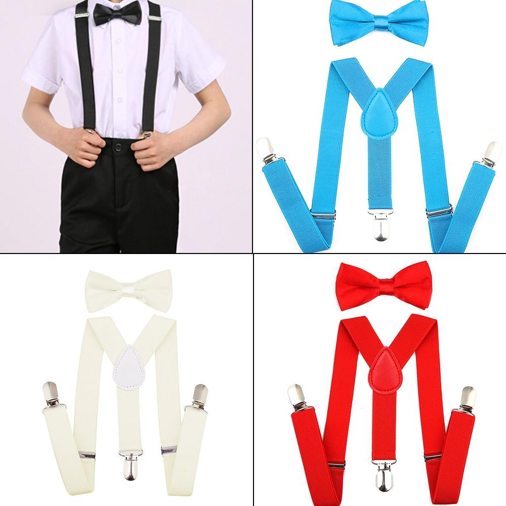1 Width Kinder Hosentrager Elastisch Kids Suspenders 4 Strong Clips Straps Y-form Slinger Length Adjustable Giarrettiere Belt Men's Suspenders Men's Accessories