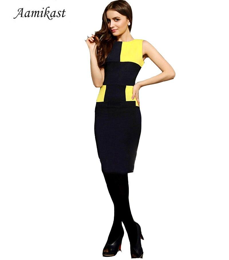 H097 חדש למעלה אופנה אלגנטי סלבריטאים קלאסי אגדות טלאים O- צוואר אורך הברך המפלגה קוקטייל עיפרון השמלה משלוח חינם