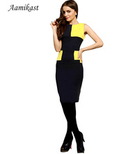 H097 New Top fashion Elegant Celebrity Classical Legends Patchwork O-Neck Knee-Length Party Cocktail Pencil Dress Free Shipping