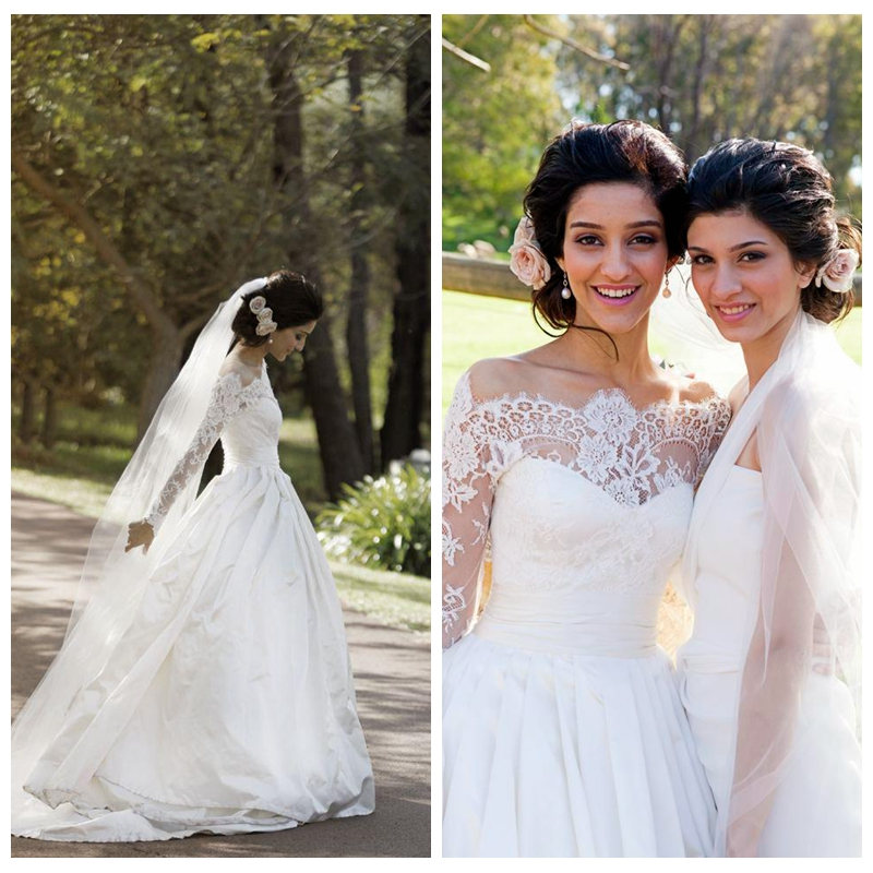 Petite Gowns For Weddings: 2017 Boat Neck Lace Long Sleeves A Line Wedding Dresses