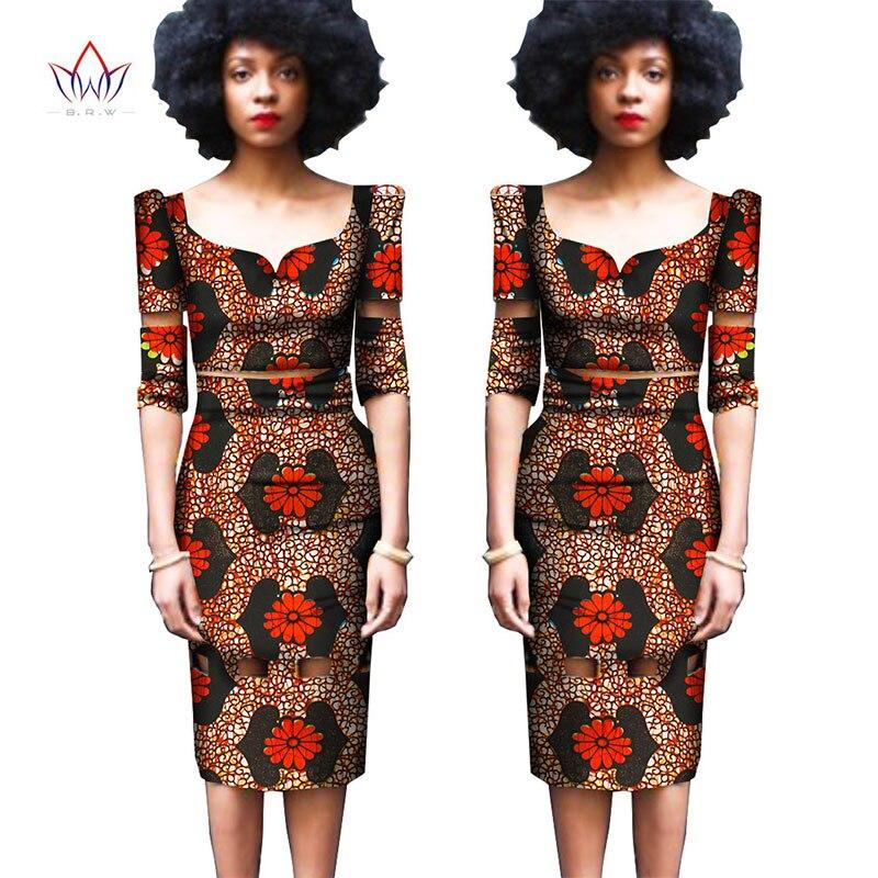 africké bazin riche dresses Africký tištěný vosk 2-dílná sada Dámské tílko a sukně Fascinující moda africana mulhere WY845