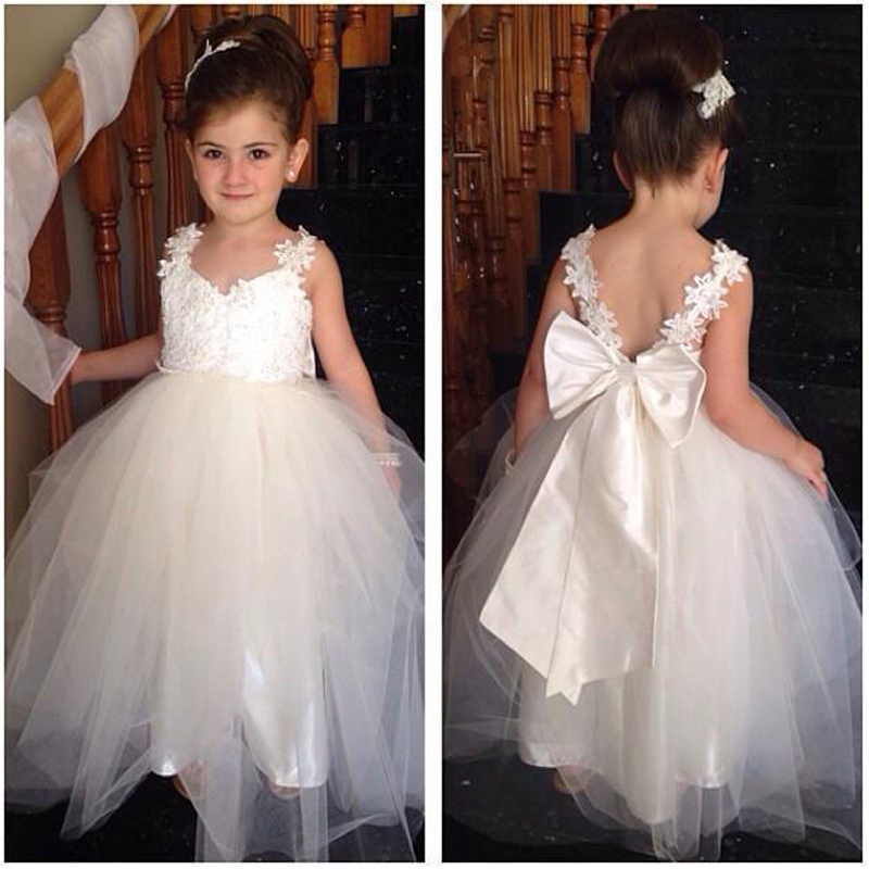 White Appliques Lace Cheap Flower Girl Dresses For Wedding
