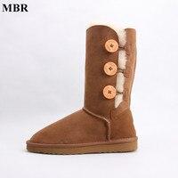 MBR en peau de mouton en cuir daim d'hiver UG neige bottes pour femmes réel fourrure de mouton laine doublé d'hiver chaussures haute qualité brun noir 35-44