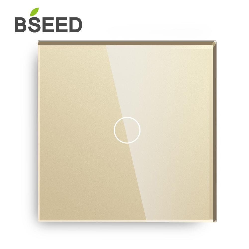 Image 3 - BSEED Touch Switch 1 Gang 2 Way Light Touch Switch 3 Color With Crystal Glass Panel Touch Wall Switch Eu Uk Standard-in Switches from Lights & Lighting
