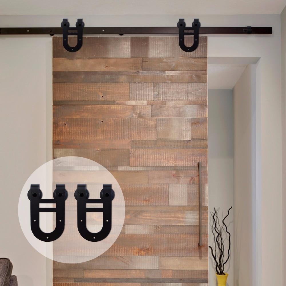 LWZH Sliding Wood Barn Door Carton Steel Hardware Kit Black Double Horseshoe Shaped Hangers for Single