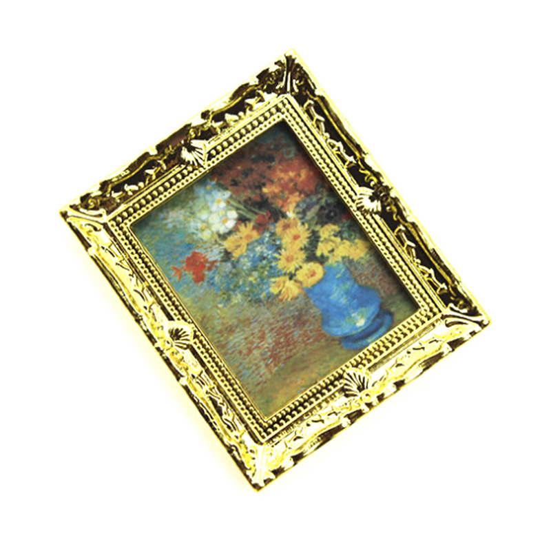 Mini Oil Painting Photo Furniture Toy Match For Families Collectible Gift 1:12 Dollhouse Miniature
