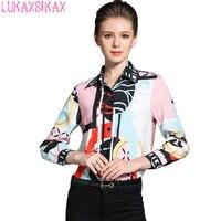 2017 New Autumn Women Long Sleeve Shirt High Quality Temperament Printed Runway Shirt Camisa Feminina Casual