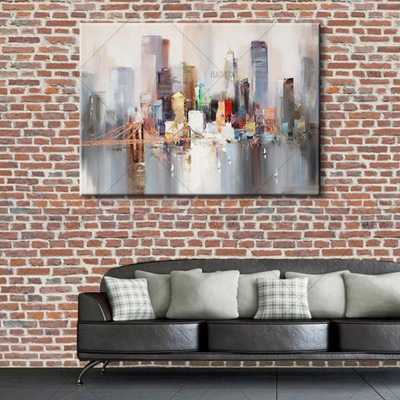 New York City Picture Canvas Painting Modern Wall Art: 2017 Modern Landscape New York Bridge 100% Handmade Canvas