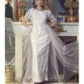 Frete Grátis 2016 Elegante Do Laço Appliqued Meia Manga Vestidos de Casamento Vestidos Vestido De Novia Fabricados Na China