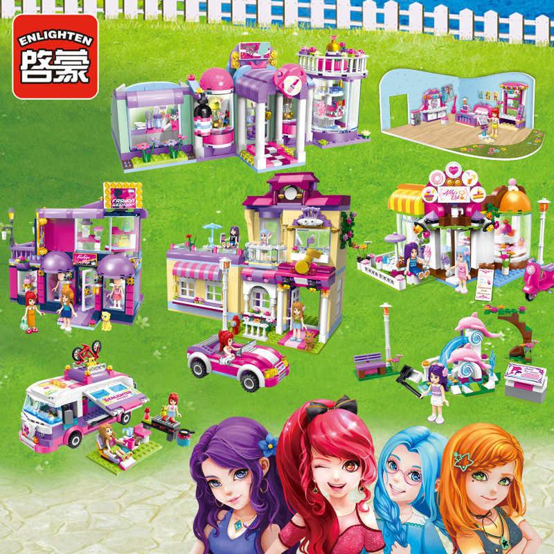Enlighten Meisjes Serie Schoonheid Slaapkamer Koffie Winkel Kledingwinkel Bouwstenen Modellen Educatief Bricks Diy Speelgoed Geschenken