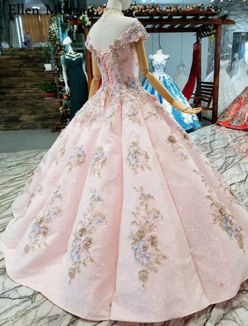 36807f3d09c ... Pink Glitter Fabric Lace Ball Gowns Wedding Dresses 2019 Custom Made  Real Photos Corset 3D Flowers ...
