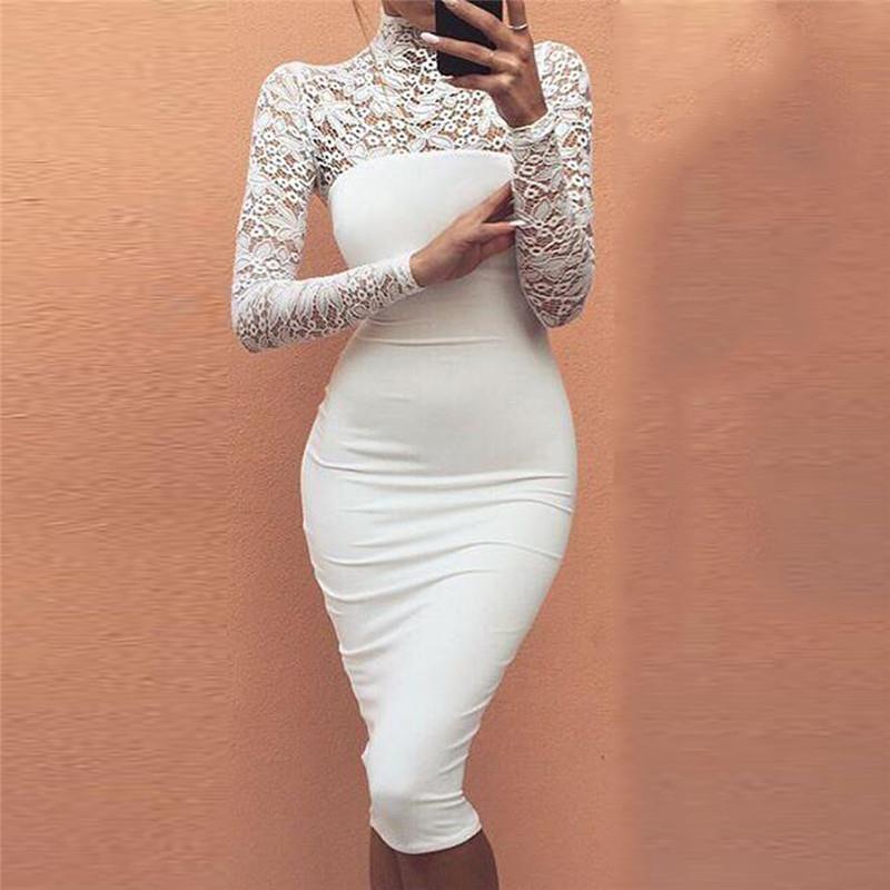 Femmes Robes de Soirée 2017 Col Roulé À Manches Longues En Dentelle Midi  Sexy Club Bandage Moulante Dress Élastique Élégant Dress Pour Femme 6e0ac6e814dc