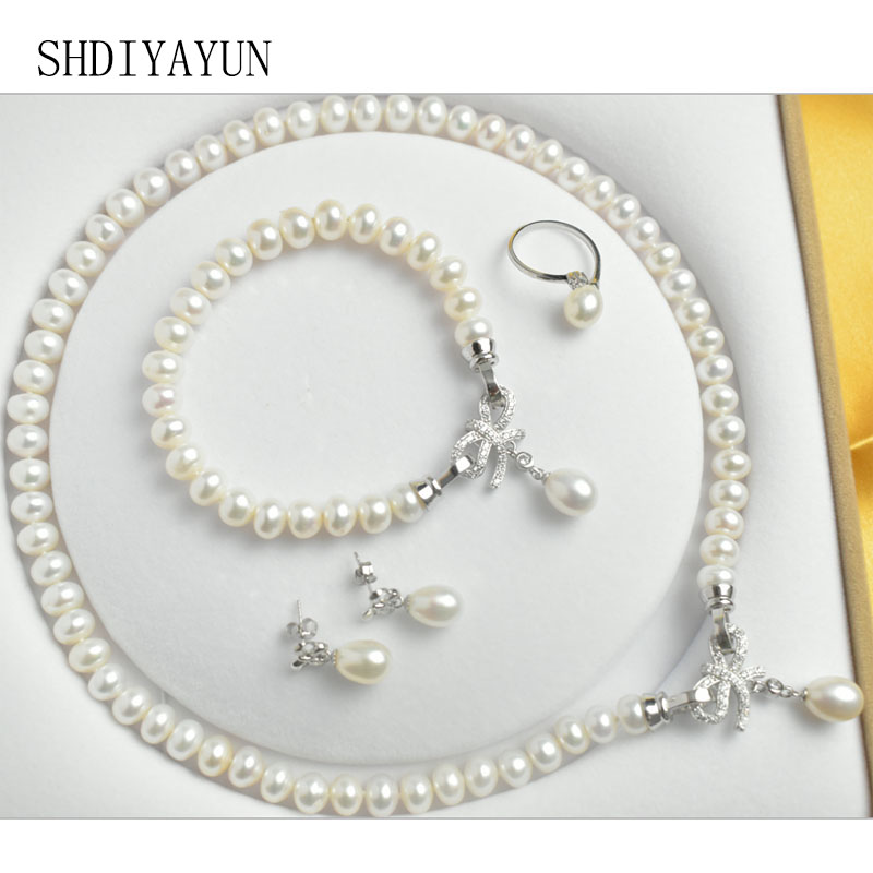SHDIYAYUN 2018 Fine Jewelry Set Natural Freshwater Pearl 925 Sterling Silver Necklace Bracelet Trendy Jewelry Set For Women Gift crystal jewelry set sterling silver jewelry 100% 925 formal jewelry set natural freshwater pearl