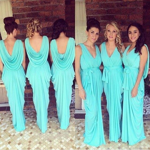 d7aec642d Brillante azul turquesa vestidos de dama 2017 Nuevo v-cuello drapeado  volantes gasa Backless