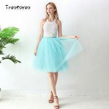 High Waist 6 Layer Midi Tulle Skirt Tutu Skirts Womens Petticoat Elastic Belt Summer faldas saia jupe 2018
