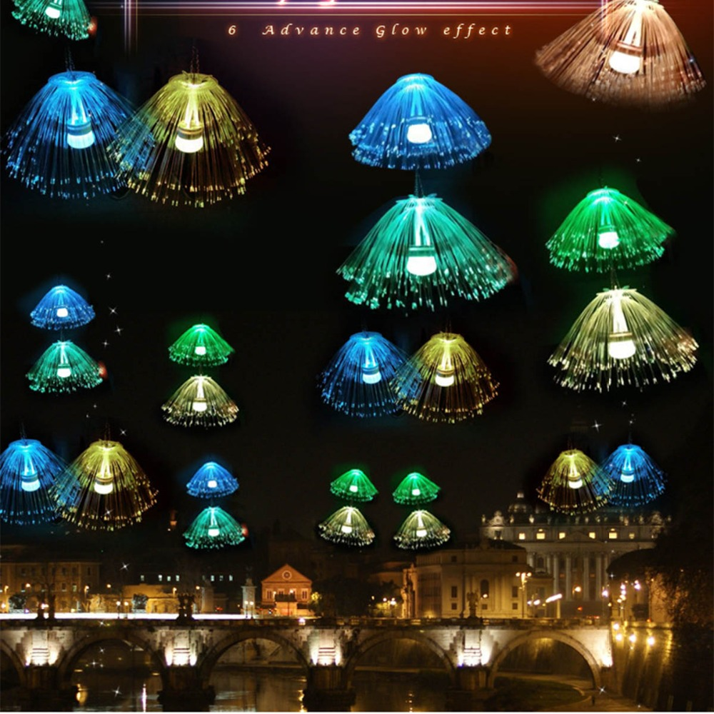 Multicolor Holiday LED Fiber Optic Jellyfish Lamps Light Wedding Centerpiece Optic Fiber LED Lighting Christmas Lampe