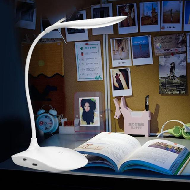 600LUX Brightness 360 degree Foldable USB Rechargeable Touc h Sensor Table LED Lamp 3 level Dimmable Reading Study Desk Light