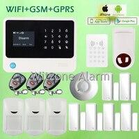 Wi Fi GSM GPRS домашний Охранной Сигнализации Системы Беспроводной проводной анти вор сигнализации Системы + RFID клавиатуры + потолочный датчик дв