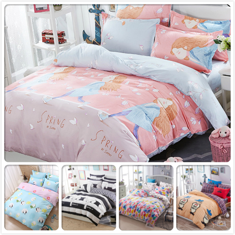 3/4 pcs Bedding Set Kids Girl Cartoon Bed Linens Full King Quee Twin Double Single Size Duvet Cover 1.5m 1.8m 2.0m 2.2m Bedsheet