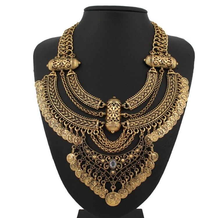 2015 design retro coin multi layer necklace gold necklaces &amp ...
