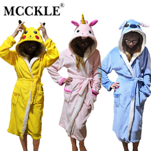 MCCKLE Spring Women Flannel Plush Sashes Bathrobe Nightgown Warm Cute Nightie Female Winter Animal Home Clothes