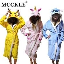 MCCKLE Spring Women Flannel Plush Sashes Bathrobe Nightgown Warm Cute Nightie Female Winter Animal Home Clothes