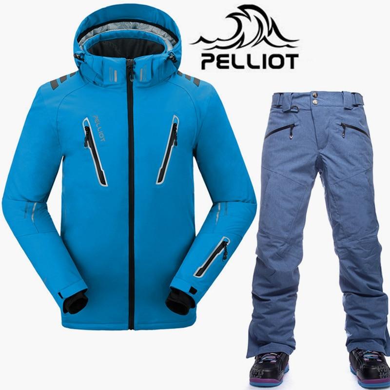Costume de Ski de marque Pelliot veste de Ski pour hommes pantalon de Snowboard imperméable Super chaud costume de Ski de montagne costumes de Snowboard pour hommes hiver