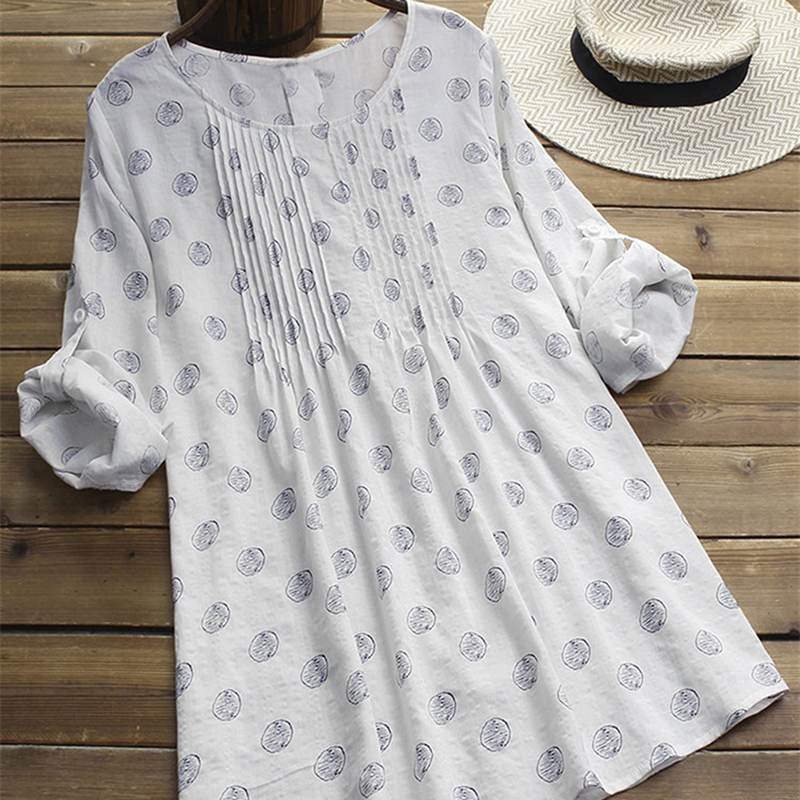 2019 Vintage Women Linen Summer Dress Plus Size Female Pleated Beach Sundress Ladies Casual Print Polka Dot Long Vestidos