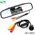 Frete Grátis, Universal Car câmara de visão traseira Do Carro de Backup estacionamento Câmera Com HD de 5 polegada Monitor Espelho Sensor de Estacionamento Do Sistema