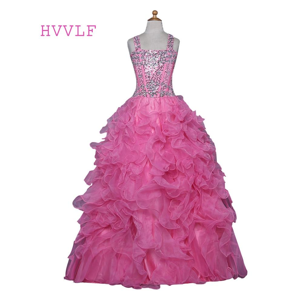 Pembe 2018 Kız Pageant Elbiseler Düğün Için Balo Tank Organze Ruffles Boncuklu Kristaller Sequins Çiçek Kız Elbise