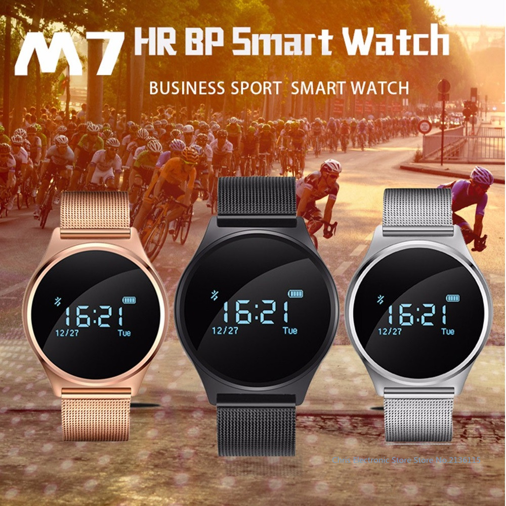 Original M7 Round Bluetooth Smart Watch Blood Pressure Heart Rate Monitor Sport Smart Wristband for