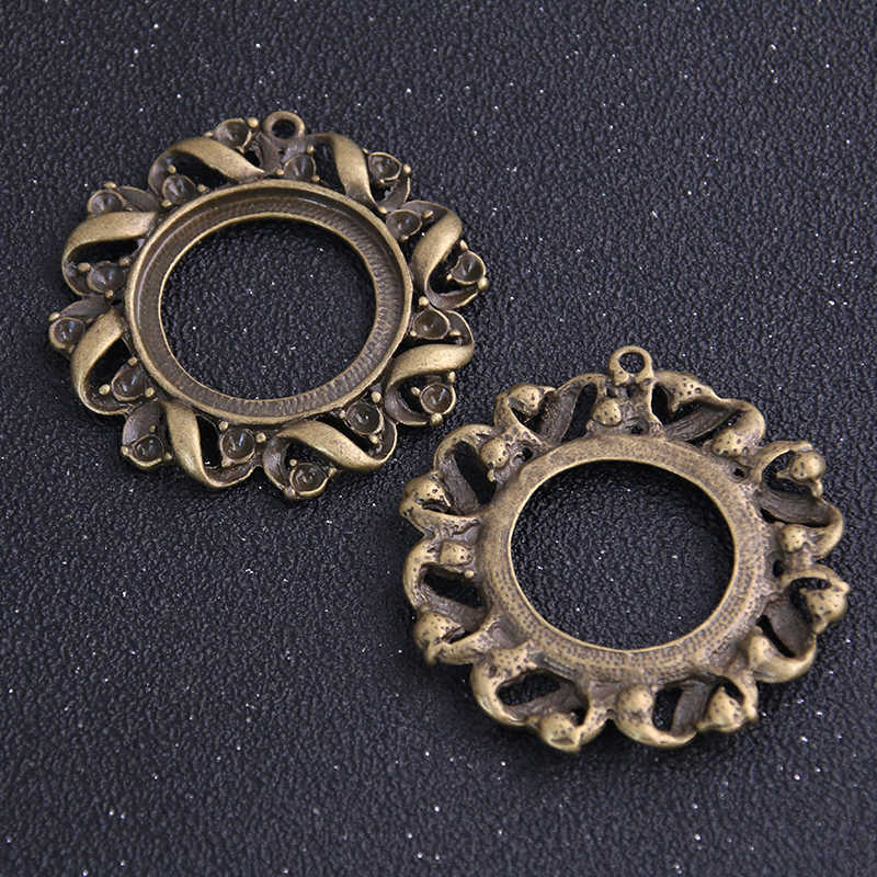 2 Buah/Banyak Perunggu Antik Kerawang Putaran 49*52 Mm (Cocok 30 Mm Diameter) cabochon Liontin Pengaturan Perhiasan Liontin Kosong 6B980