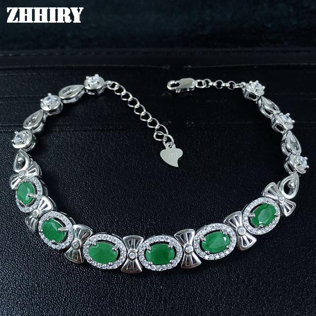 ZHHIRY Real Emerald Gem Pulseira Real 925 Sterling Silver Natural Gem Pedra Mulheres Jóias de Platina Quatro Pedras Preciosas