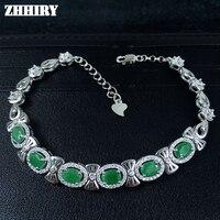 Zhhiry настоящий изумруд камень браслет Настоящее стерлингового серебра 925 природных драгоценного камня Для женщин ювелирные платины четыре