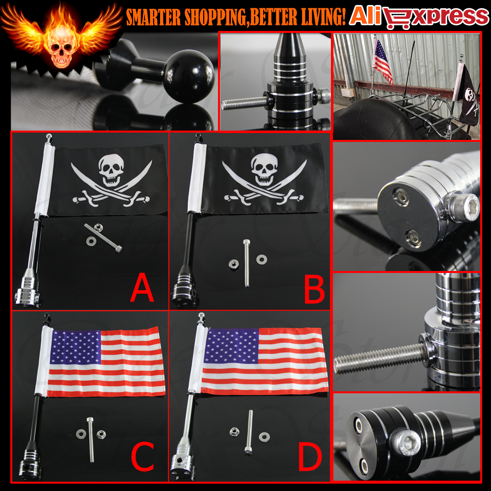 ФОТО CNC Aluminum Motorcycle Rear Side Mount Luggage Rack Vertical Pirate American Flag Pole For Harley Sportster XL 883 1200 Touring