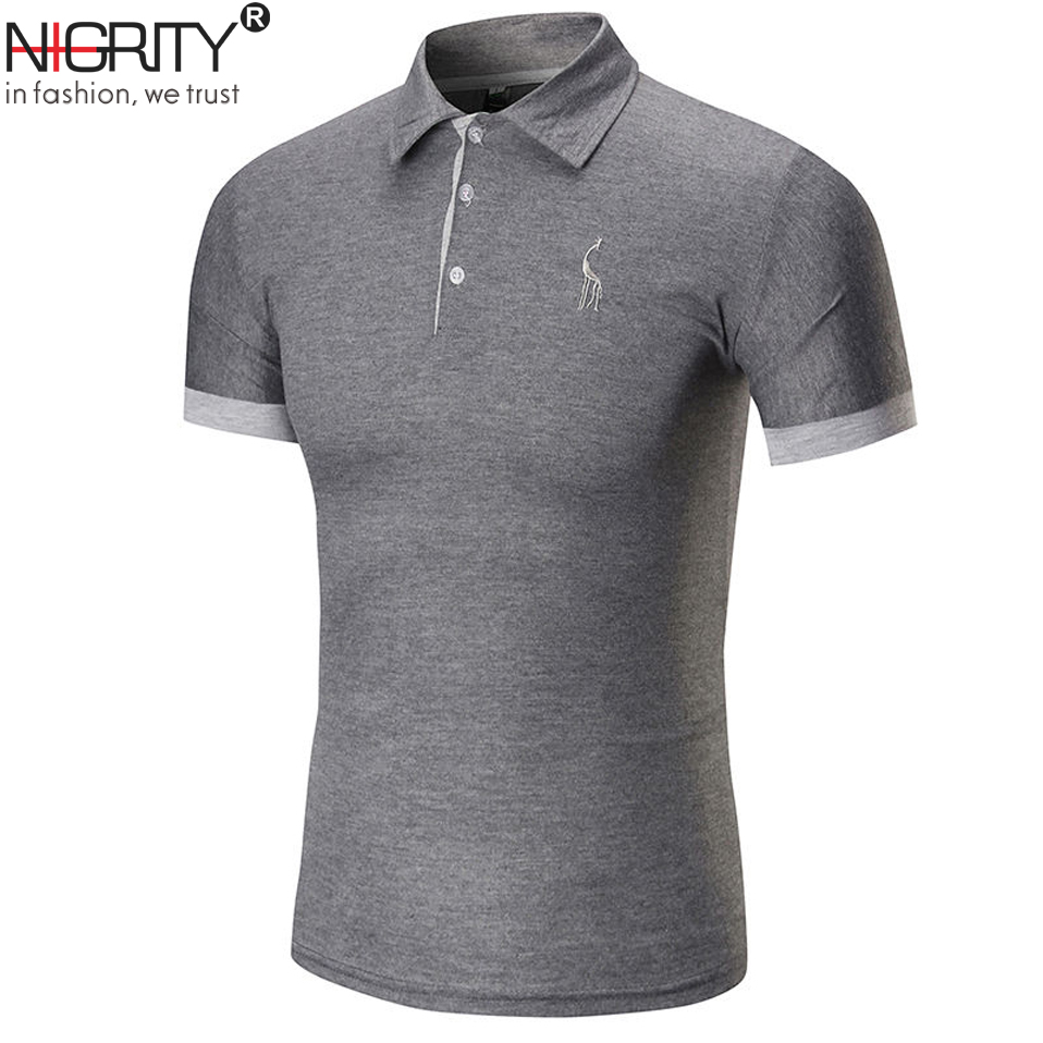 NIGRITY 2019 New Man   Polo   Shirt Men Jerseys Summer Casual Deer Embroidery Cotton   Polo   shirt Men Short Sleeve High Quality   polo