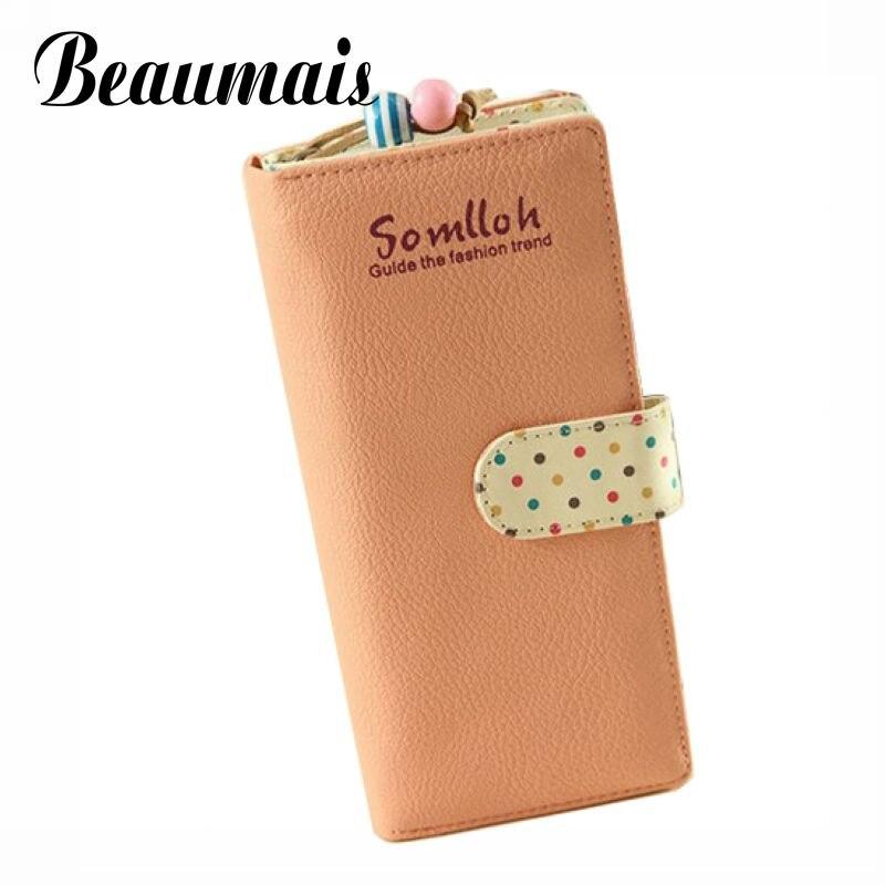 Beaumais Dot Print Cute Girls Long Women Wallets Hasp Fold Over PU Leather Wallet Women Female Cash Card Clutch Bag 2017 BG263
