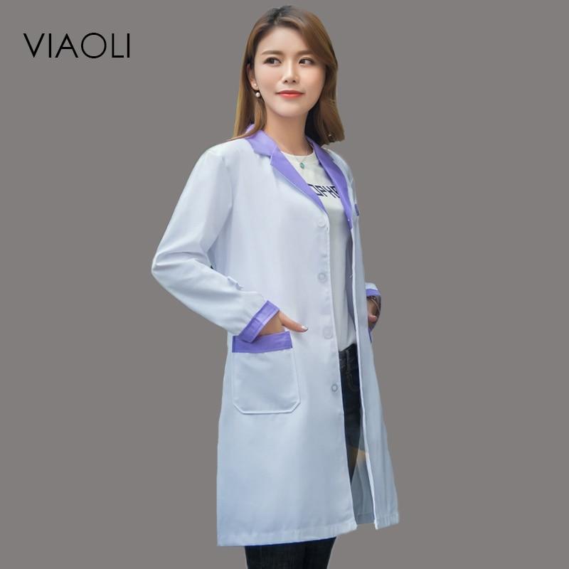 Viaoli 2018 New Long Sleeve Suit Collar  Women Medical Coat  Uniform Medical Lab Coat Hospital Doctor Slim Color Decoration