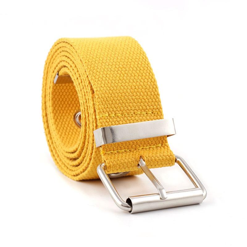 2020 New Harajuku Casual Long Black Yellow Fabric Canvas Waist Belt Women's Grommet Hole Belts For Women Jeans Ceinture Femme
