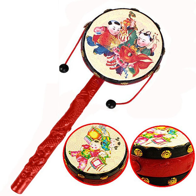 Red Chinese Traditional Spin Toy Rattle Drum Kids Cartoon Hand Bell Plastic For Baby