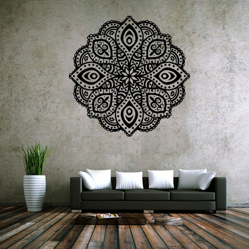 NEW  Mandala Yoga Decal Vinyl Sticker Flower Murals Buddhist Art Deco Wall Stickers 57cmx56cm for Home Decoration hot for lg google nexus5 d820 d821 lcd touch screen digitizer with frame assembly small accessories such as pictures