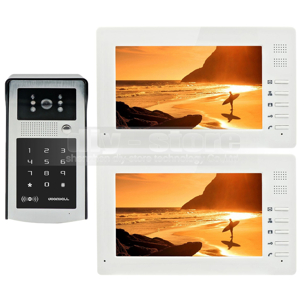 DIYSECUR 7 inch HD TFT LCD Monitor Video Door Phone Video Intercom Doorbell 300000 Pixels Night Vision Camera RFID + Password 7 inch video doorbell tft lcd hd screen wired video doorphone for villa one monitor with one metal outdoor unit rfid card panel