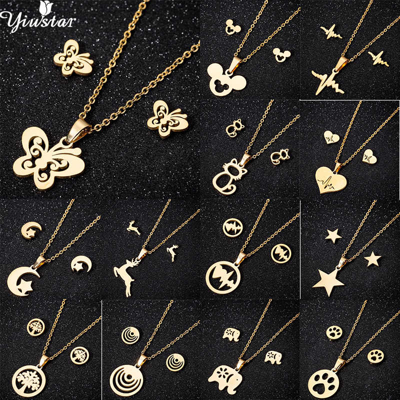 Yiustar Hollow Stainless Steel Cute Butterfly Necklaces Charming Animal Simple Studs Necklace For Women Girl Kids Party Gifts
