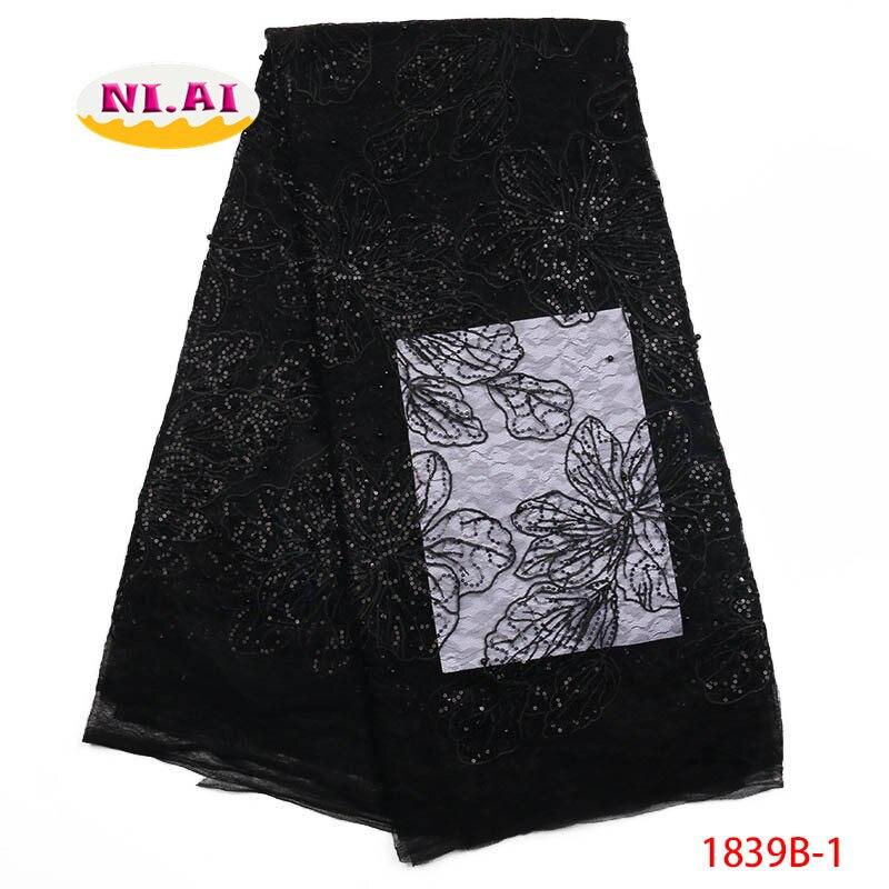 Afryki koronki tkaniny najnowsze, Ins gorąca sprzedaż haftowane koronki tkaniny, czarne koronki tkanina z koralikami MR1839B w Koronka od Dom i ogród na  Grupa 1