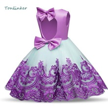 Flower Girls Bowknot Birthday Party Princess Dress Kids Embroidery Halloween Young Wedding Prom Clothes