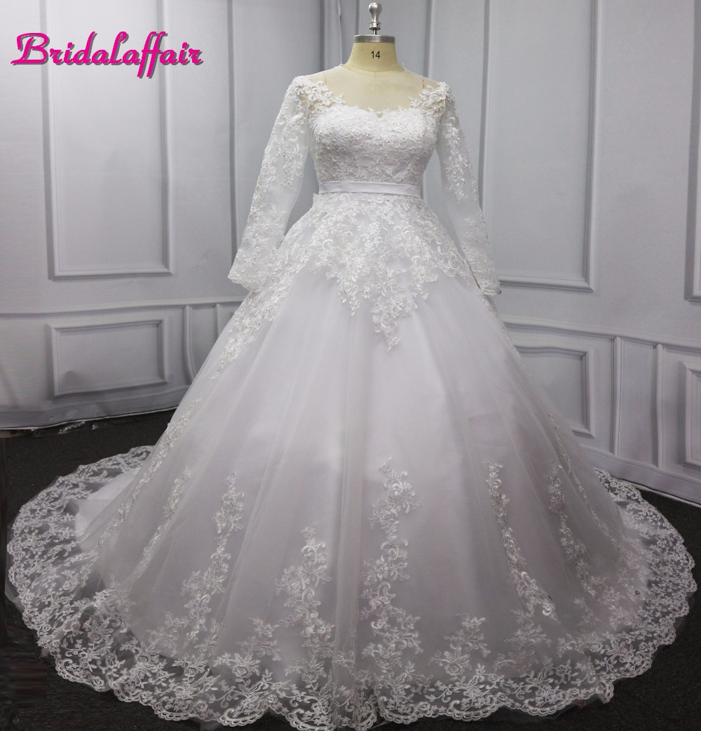 Bridal affair New Luxury Full Pearls Wedding Dress Long Sleeves Ball Gown 2018 Wedding Dresses video  Royal Tail  Bridal Dress